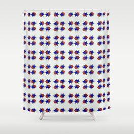 Phillip Gallant Media Design - Red, Blue, Yellow, Black Shape on White Shower Curtain