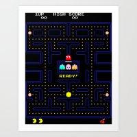 pac man Art Prints featuring Pac Man by Trash Apparel