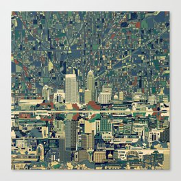 indianapolis city skyline green Canvas Print