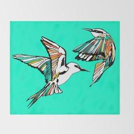 Dancing Rainbow Bee Eater Birds Throw Blanket