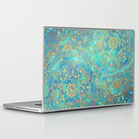 background Laptop & iPad Skins featuring Sapphire & Jade Stained Glass Mandalas by micklyn