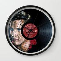 elvis presley Wall Clocks featuring Elvis Presley by Melissa Jane