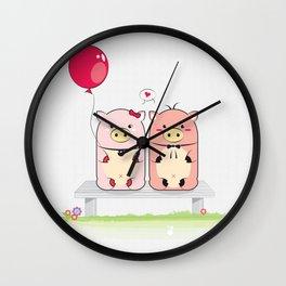 Piggie Couple Wall Clock