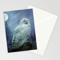 Moonlit Snowy Owl Stationery Cards