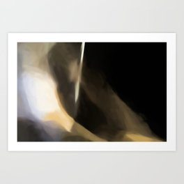 Abstract Beige and White on Black Shades.  Like painted on canvas. Art Print