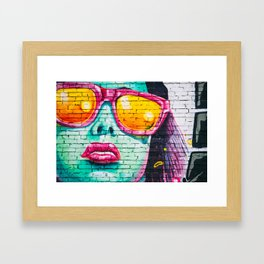 Graffiti Of Women On Wall Framed Art Print