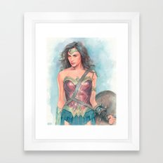 Wonderwoman watercolor Framed Art Print