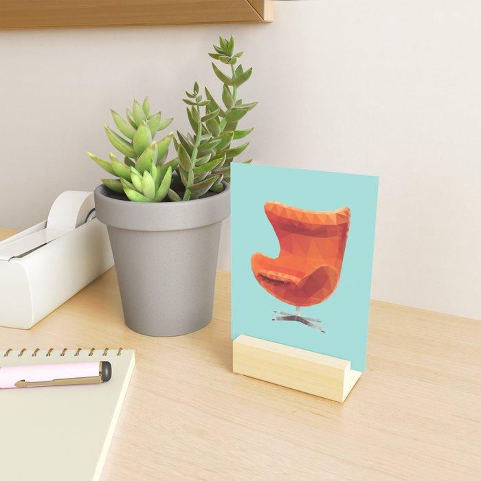 Orange Arne Jacobsen's Egg Chair Polygon Art Mini Art Print