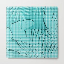 Turquoise Tropical Leaves Plaid Design Metal Print