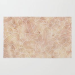 Iced coffee and white swirls doodles Rug