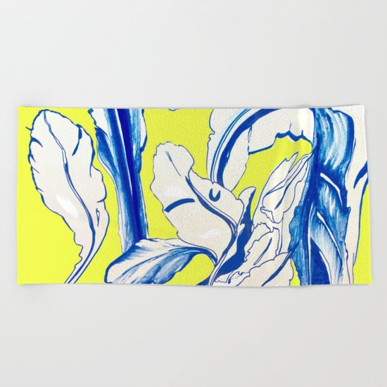 Plant in Blue Marker - Leaf of Life Miracle Leaf - Yellow Beach Towel
