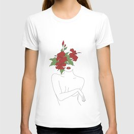 Minimal Line Art Woman with Hibiscus T-shirt