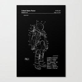 NASA Space Suit Patent - White on Black Canvas Print