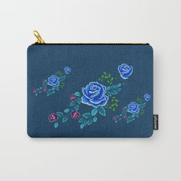 Blue Embroidery Rose Carry-All Pouch