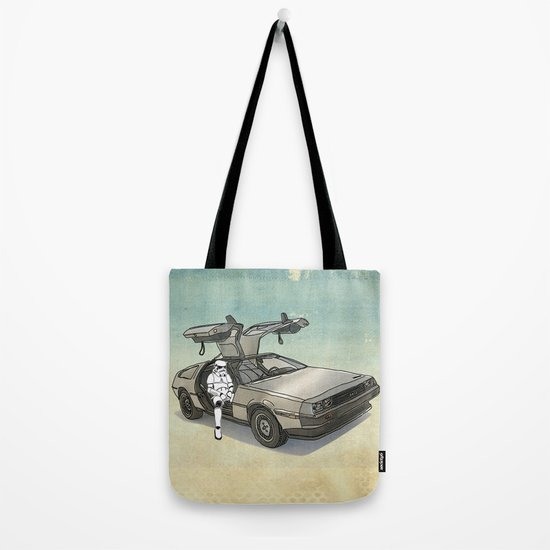 Stormtrooper in a DeLorean - waiting for the car club Tote Bag