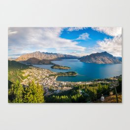 Queenstown Panorama at golden hour, New Zealand. Canvas Print