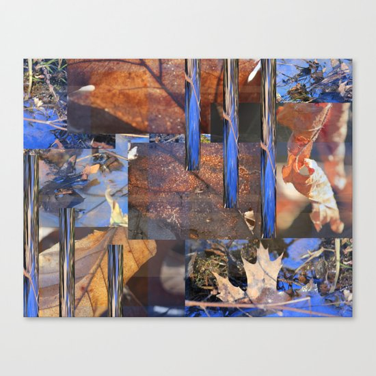 Blue Water &  Golden Leaves Canvas Print