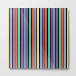 90s Color Block Stripes Metal Print