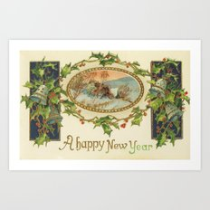 A Happy Vintage New Year Art Print