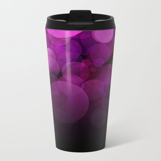 Purple light abstract bokeh background Metal Travel Mug