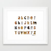font Framed Art Prints featuring Perruna Font / Dog font by oyemathias