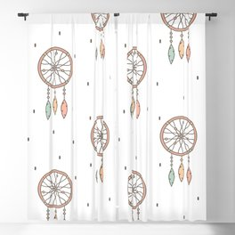 cute cartoon flat pattern background with native american indian dreamcatcher Blackout Curtain