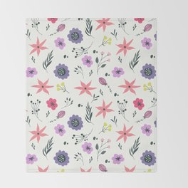 Abstract coral purple violet vector floral pattern Throw Blanket