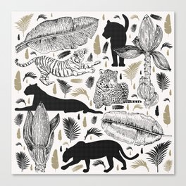 Wild Cats and Botanicals Canvas Print