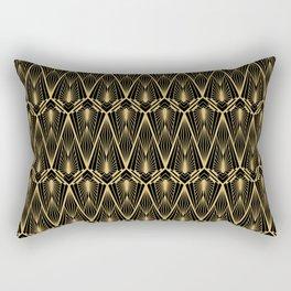 Art Deco Squares and Diamonds of Gold Rectangular Pillow