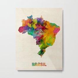 Brazil Watercolor Map Metal Print