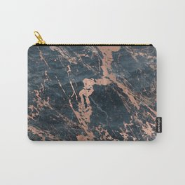 Blue & Rose Gold Marble Carry-All Pouch