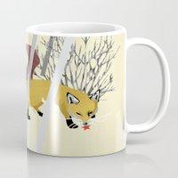 kitsune Mugs featuring Kitsune by ravenguerrero