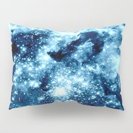 Ice Blue Galaxy Star Clusters Pillow Sham