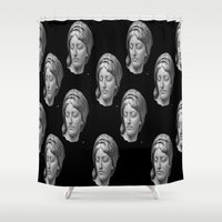 no face Shower Curtains featuring face by Bitifoto