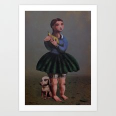 Girl with Giant Birne Art Print