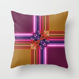 Purplish-Red and Gold Colorblock Abstract Throw Pillow