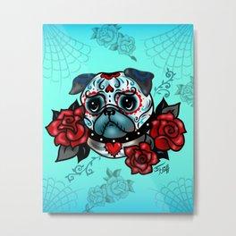 Sugar Skull Pug with Roses on Mint Metal Print