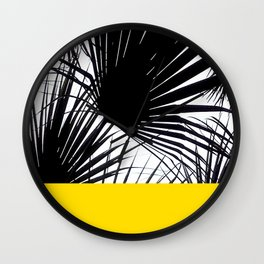 Black and White Tropical Palm Leaves on Sunny Yellow Wall Clock