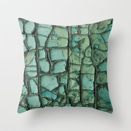 Turquoise cracked wall Throw Pillow