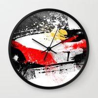 senna Wall Clocks featuring AYRTON SENNA MP4-4 by Michele Leonello