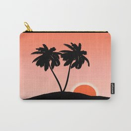 Palm Tree Silhouette Against a Sunset Orange Background Carry-All Pouch