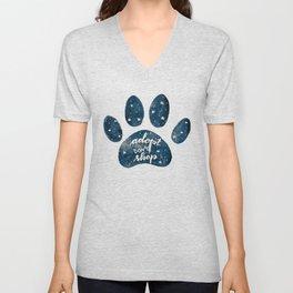 Adopt don't shop galaxy paw - blue Unisex V-Neck