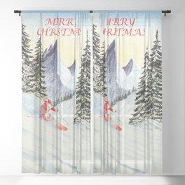 Merry Christmas with Skiing Santa Sheer Curtain
