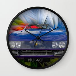 Purple Sports Car Wall Clock