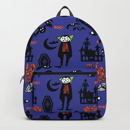Cute Dracula and friends blue #halloween Backpack