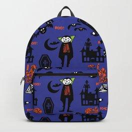 Cute Dracula and friends blue #halloween Backpack