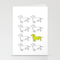 daschund Stationery Cards featuring Weenie Collective by WhyitsmeDesign