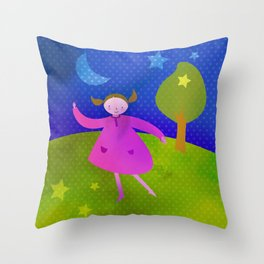 Dancing by the light of the moon Throw Pillow