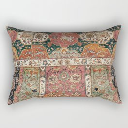Persian Medallion Rug V // 16th Century Distressed Red Green Blue Flowery Colorful Ornate Pattern Rectangular Pillow