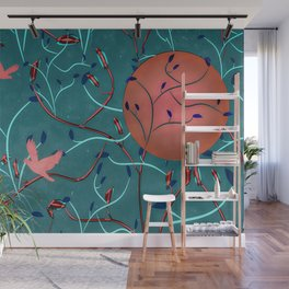 Art Nouveau Moon and Doves (Bronze and Blue) Wall Mural